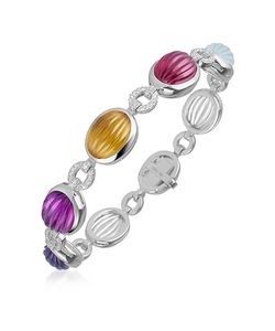 Roma Imperiale | Carved Gemstone Links 18k Gold Diamond Bracelet