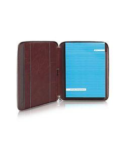 Piquadro | Blue Square Zip Around Slim Notepad Leather Holder