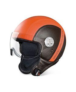 Piquadro | Open Face Two-Tone Leather Helmet W/Visor