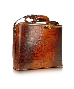 Pratesi | Croco Stamped Leather Laptop Business Bag W/Courtesy Light