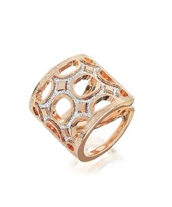 Rebecca | Seventies 18 Kt Rose Gold Over Bronze Ring With Glitter