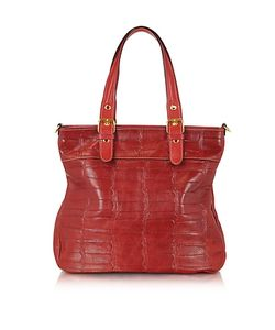 Robe di Firenze | Croco Stamped Italian Leather Tote