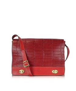 Robe di Firenze | And Red Croco Stamped Italian Leather Shoulder Bag