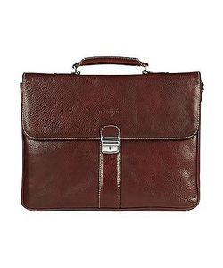 Robe di Firenze | Dark Double Gusset Leather Briefcase