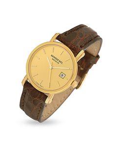 Raymond Weil | Croco-Stamped Leather Strap 18k Gold Date Dress Watch