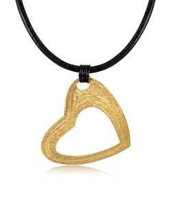 Stefano Patriarchi | Etched Golden Large Heart Pendant W/Leather Lace