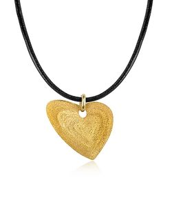 Stefano Patriarchi | Etched En Silver Small Heart Pendant W/Leather Lace