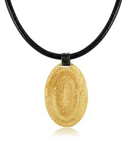 Stefano Patriarchi | Golden Etched Oval Pendant W/Leather Lace