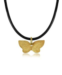 Stefano Patriarchi | En Silver Etched Butterfly Pendant W/Leather Lace