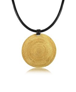 Stefano Patriarchi | En Silver Etched Large Round Pendant W/Leather Lace