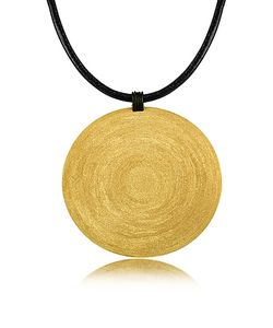 Stefano Patriarchi | En Silver Etched X-Large Round Pendant W/Leather Lace