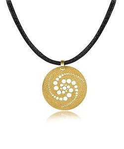 Stefano Patriarchi | En Silver Etched Crop Circle Round Pendant W/Leather Lace