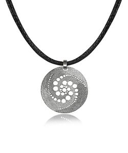 Stefano Patriarchi | Silver Etched Crop Circle Round Pendant W/Leather Lace
