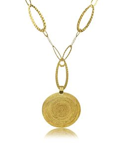 Stefano Patriarchi | En Silver Etched Round Pendant Chain Necklace