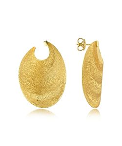 Stefano Patriarchi | En Silver Etched Oval Shield Drop Earrings