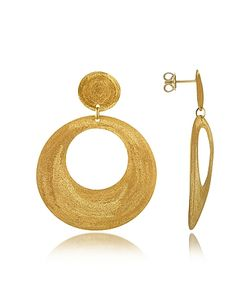 Stefano Patriarchi | En Silver Etched Round Cut Out Drop Earrings