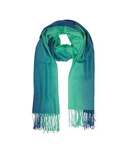 Mila Schon | Gradient /Green Wool And Cashmere Fringed Stole