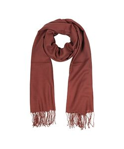 Mila Schon | Brick Red Wool And Cashmere Fringed Stole