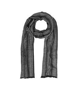 Mila Schon | Gray Stripe Wooden Fiber Fringed Long Scarf
