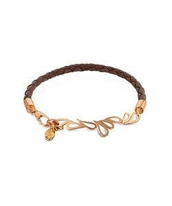 Sho London | Mari Friendship Leather And Rose Gold Bangle