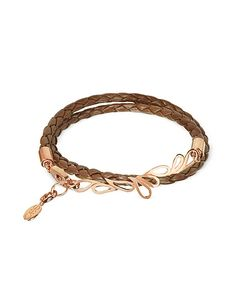 Sho London | Mari Fiendship Rose Gold Plated Leather Double Bracelet