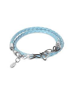 Sho London   Mari Friendship Sterling Silver Leather Double Bracelet
