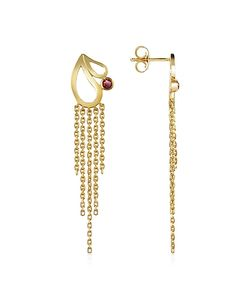 Sho London   Mari Splash Fringe Earrings W/ Rhodolite