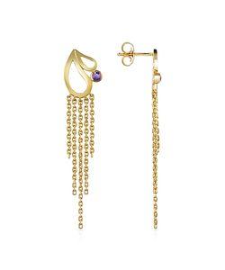 Sho London   Mari Splash Fringe Earrings W/ Amethyst