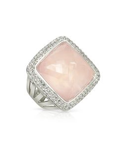 Sho London | 18k Gold V-Seal Rose Quartz Victoria Ring