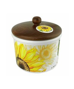 Spigarelli | Sunflower Ceramic Cookie Jar W/Wooden Lid