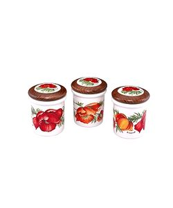 Spigarelli | Set Of 3 Poppy Ceramic Spice Jars