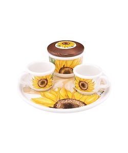 Spigarelli | Sugar And Mocha Cups Sunflower Ceramic Set W/Tray