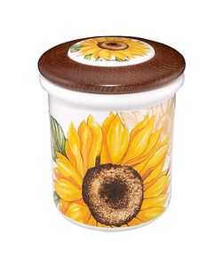 Spigarelli | Sunflower Ceramic And Wood Jar
