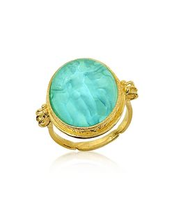 Tagliamonte | Three Graces 18k Turquoise Mother Of Pearl Cameo Ring