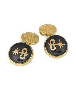 Torrini | Enamel 18k Gold Logo Cufflinks
