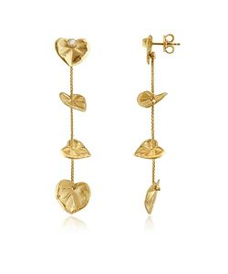 Torrini | Leaf Diamond 18k Yellow Drop Earrings