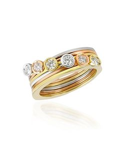 Torrini | Bezel-Set Diamond Three-Tone 18k Stackable Ring Set Of Six