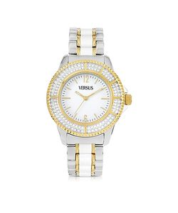 Versace Versus | Tokyo Crystal 38 White And Gold Stainless Steel Womens Watch