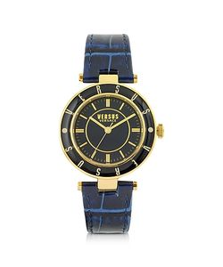 Versace Versus | Logo Gold Tone Stainless Steel And Dark Embossed Leather Strap