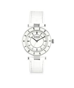 Versace Versus | Logo Silver Tone Stainless Steel Case And Leather Strap Womens