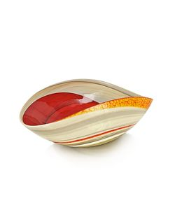 Yalos Murano | Cartoccio Medium Red And Marbled Murano Glass Folded Bowl