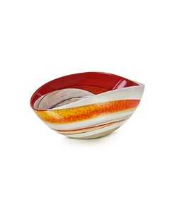 Yalos Murano | Cartoccio Small And Ivory Marbled Murano Glass Folded Bowl
