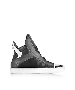 Ylati | Zeus Dark Grey And White Leather High Top Sneaker