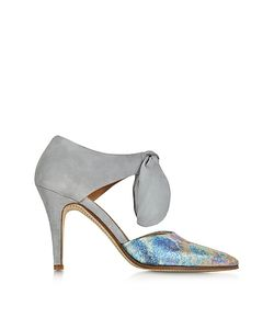Zoe Lee | Multicolor Pierre Part Metallic Fabric And Suede Bow Pump
