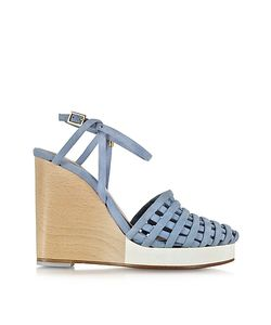 Zoe Lee | Scott Woven Light Suede Wedge Sandal