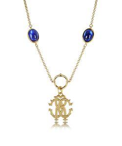 Roberto Cavalli | Rc Line Золотистое Ожерелье С Подвеской И Темно-Синими Камнями