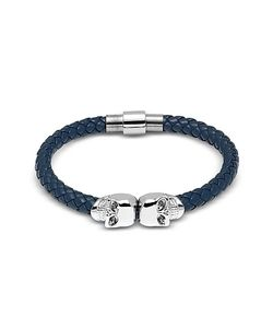 Northskull | Denim Blue Nappa Leather W/ Silver Twin Skull Bracelet