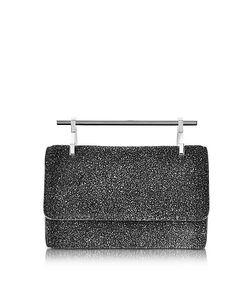 M2Malletier | Mini Fabricca Cosmic Черный Блестящий Кожаный Клатч С Цепочкой