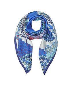 Mila Schon | Seahorses And Coral Reefs Print Twill Silk Square Scarf