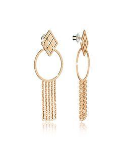 Rebecca | Melrose Over Bronze Drop Hoop Earrings W/Chain Fringes